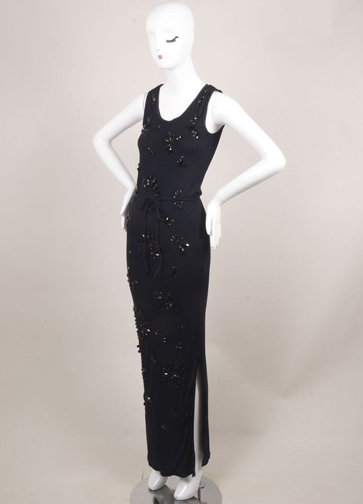 Lanvin New With Tags Navy Jersey Beaded Sleeveless Maxi Dress Sideview