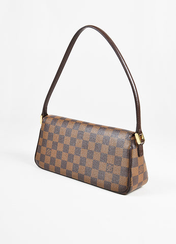 "Louis Vuitton Brown Tan Coated Canvas 'Damier Ebene"" Flap ""Recoleta"" Bag angle"