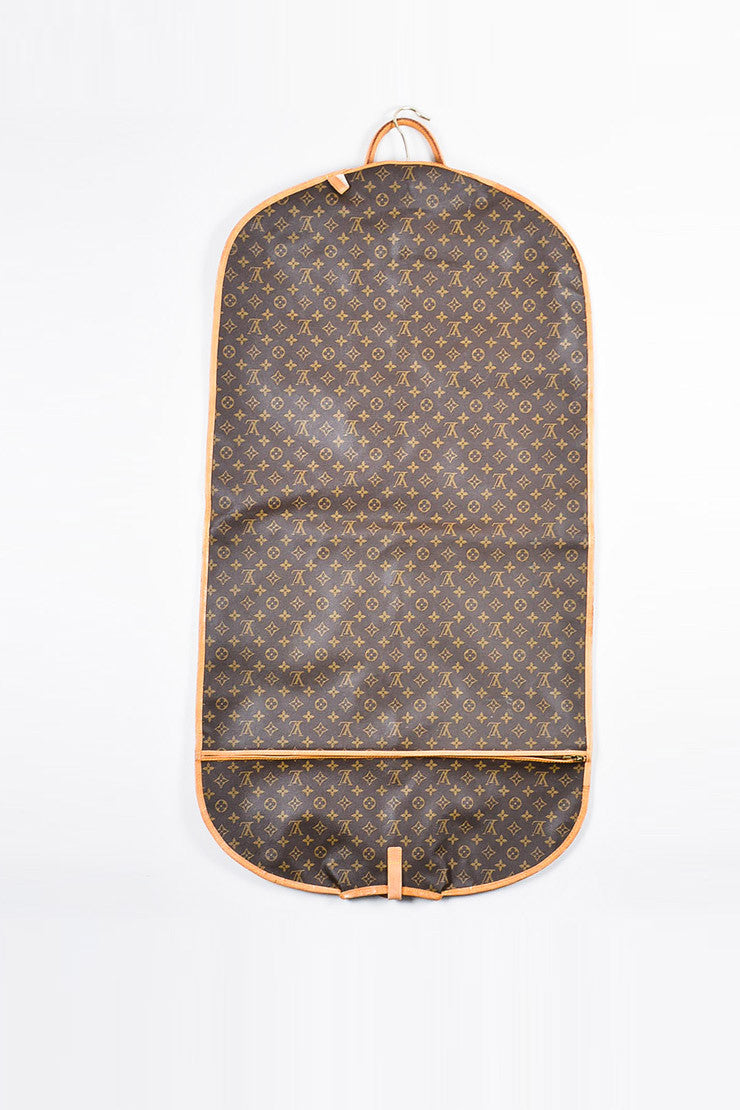 Louis Vuitton Brown and Tan Coated Canvas and Leather Monogram Garment Cover Bag Backview