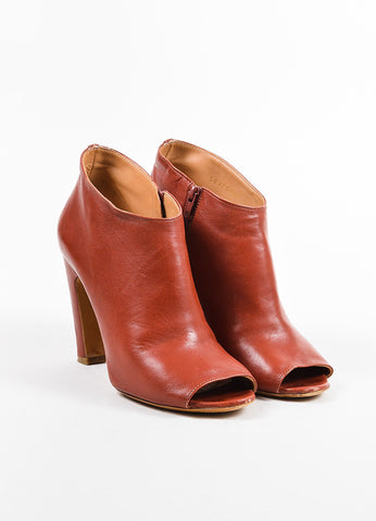 Maison Martin Margiela Rust Orange Leather Peep Toe Heeled Booties Frontview
