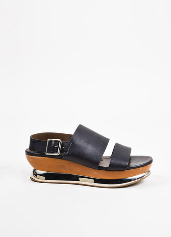 Marni Black, Brown, and Silver Toned Leather and Wood Mirrored Platform Sandals Sideview