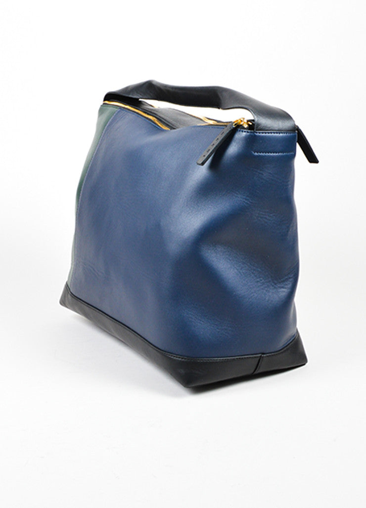 Marni Dark Green, Navy, and Black Leather Color Block Oversized Hobo Bag Sideview