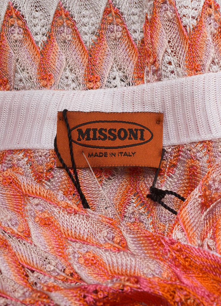 Missoni New With Tags Orange and White Zig Zag Knit Button Down Long Cardigan Brand