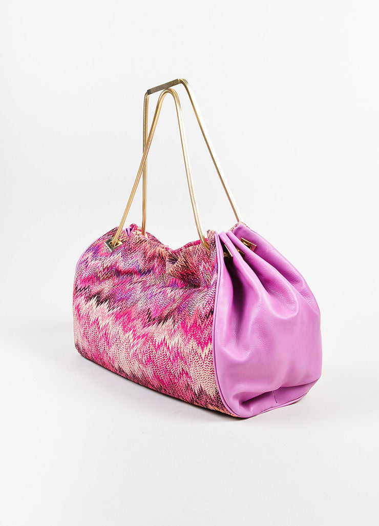 Pink and Multicolor Missoni Leather and Textile Chevron Zig Zag Shoulder Bag Sideview