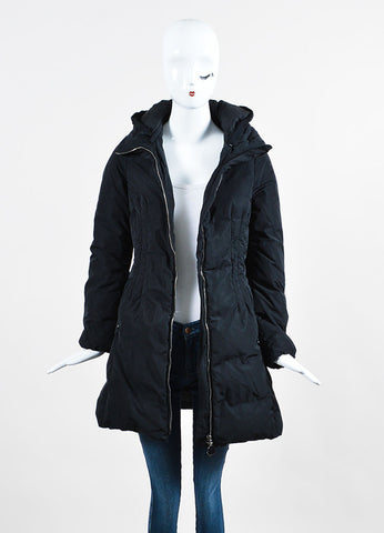 "Black Moncler Nylon Mid Length ""Renne"" Down Puffer Coat Frontview"