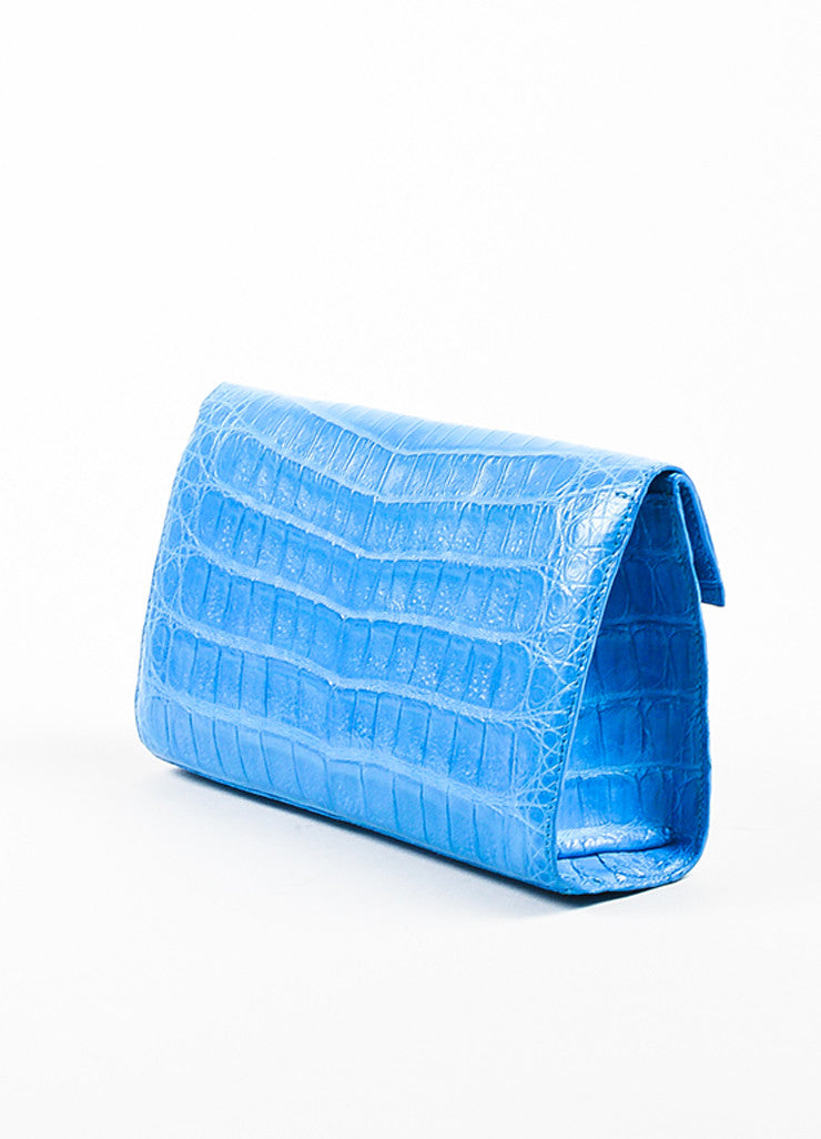 "Nancy Gonzalez ""Ocean"" Blue Crocodile & Suede Leather East West Clutch angle"