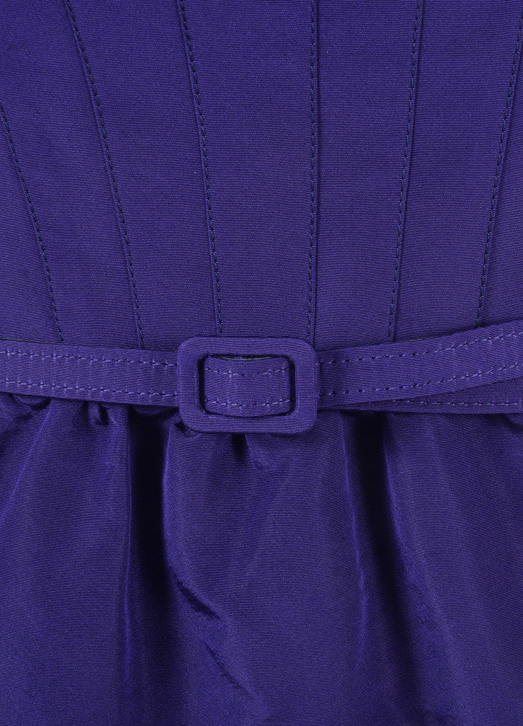 Oscar de la Renta New With Tags Purple Off Shoulder Silk Faille Sheath Dress Detail