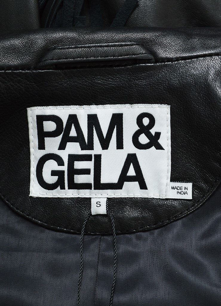 Pam & Gela Black Leather Fringe Jacket Brand