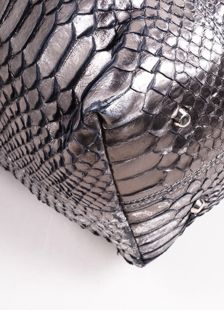 "Pauric Sweeney Metallic Silver and Brown Python Leather ""Overnight"" Satchel Handbag Detail"