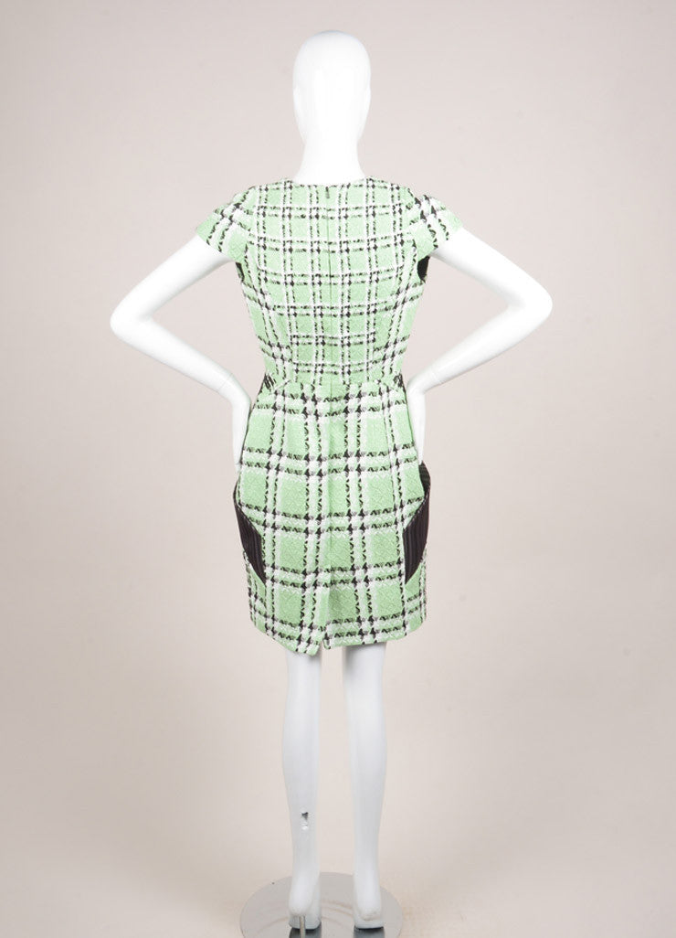 "Peter Pilotto New With Tags Light Green and Black Tweed Woven Plaid ""Zoom"" Dress Backview"