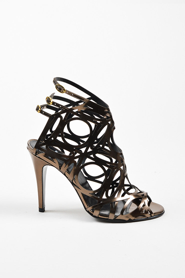 Taupe Metallic Pierre Hardy Patent Leather Cut Out Sandal Heels Sideview