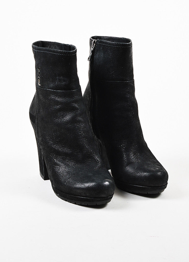 å´?ÌÜPrada Sport Black Treated Leather Block Heel Lug Sole Zip Ankle Boots Frontview