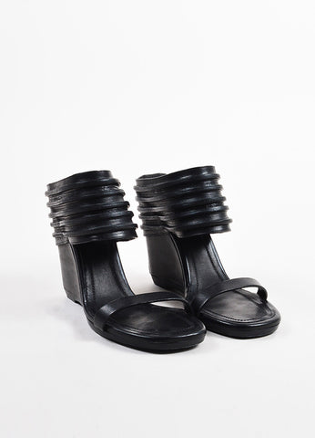 Rick Owens Black Leather Stripe Cut Out Cuff Wedge Slide Mule Sandals Frontview