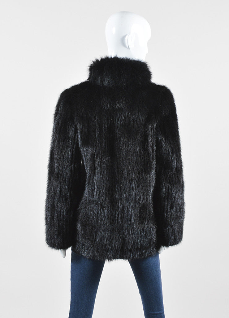 Black Saga Mink Fur High Collar Long Sleeve Fur Coat Backview