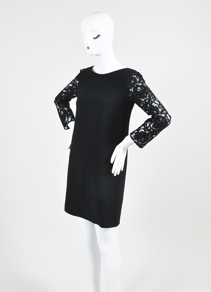 Saint Laurent Black Lace Three Quarter Sleeve Round Neck Shift Dress Sideview