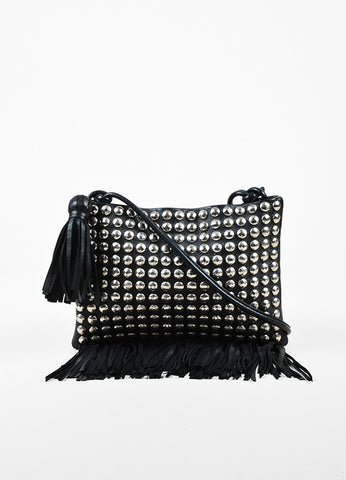Sonia Rykiel Black Leather Silver Toned Studded Fringe Crossbody Bag Frontview