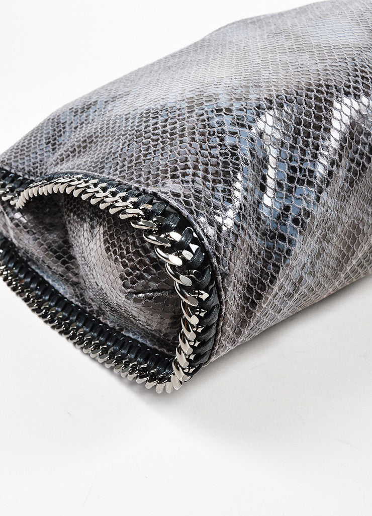 "Stella McCartney Black and Grey Python Embossed Faux Leather Small ""Falabella"" Bag Detail"