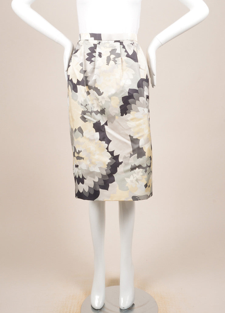 Bill Blass Grey, Cream, and White Floral Print Pencil Skirt Frontview