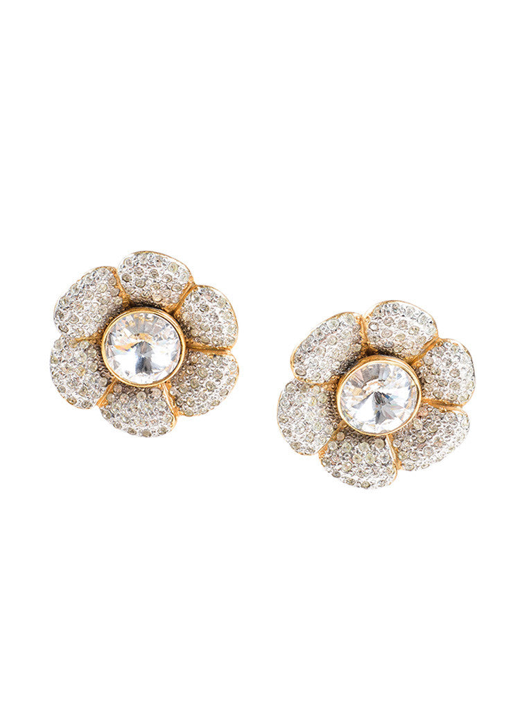 Celine Gold Toned Rhinestone Crystal Flower Earrings Frontview