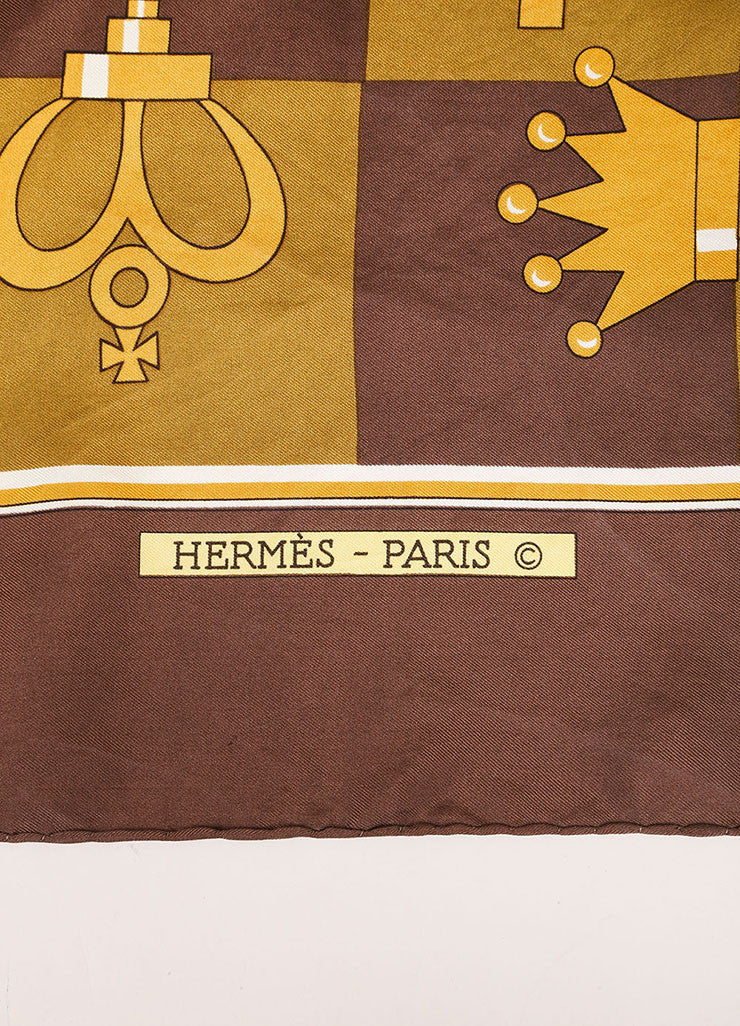 Hermes Brown and Gold Chess Piece and Board Print Silk Scarf Brand