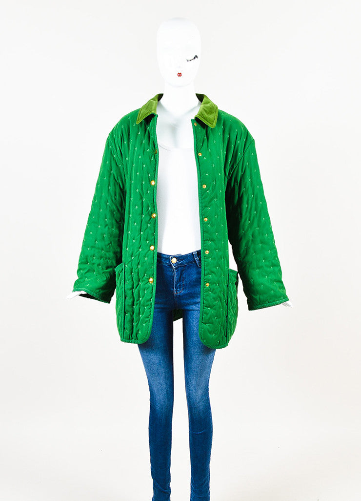 Hermes Green Embroidered Quilted Velvet Collar Oversized Jacket Frontview