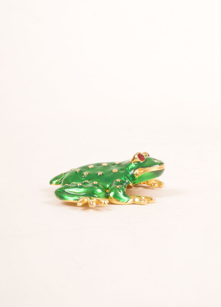 Kenneth Jay Lane Green and Gold Toned Spotted Frog Enamel Pin Brooch Sideview