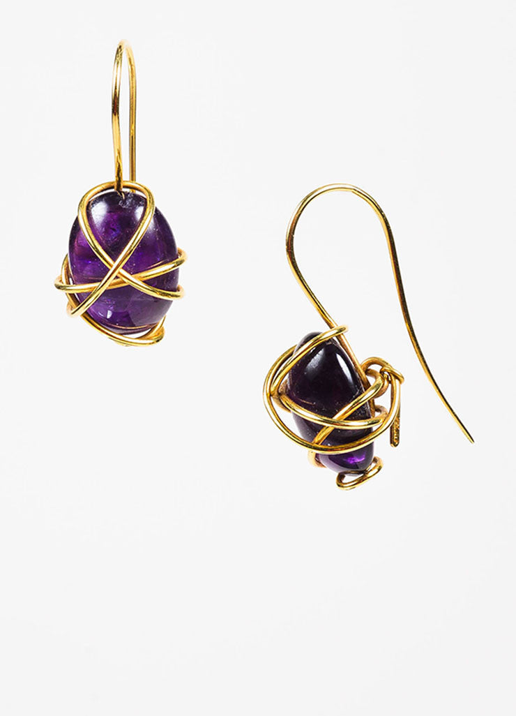 Tina Chow 18K Yellow Gold and Amethyst Wrapped Drop Hook Earrings Sideview