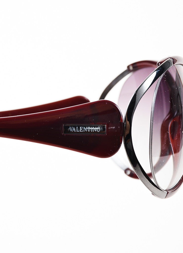 Valentino Dark Red & Grey Round Cut Out Oversized '5625 S' Sunglasses Side
