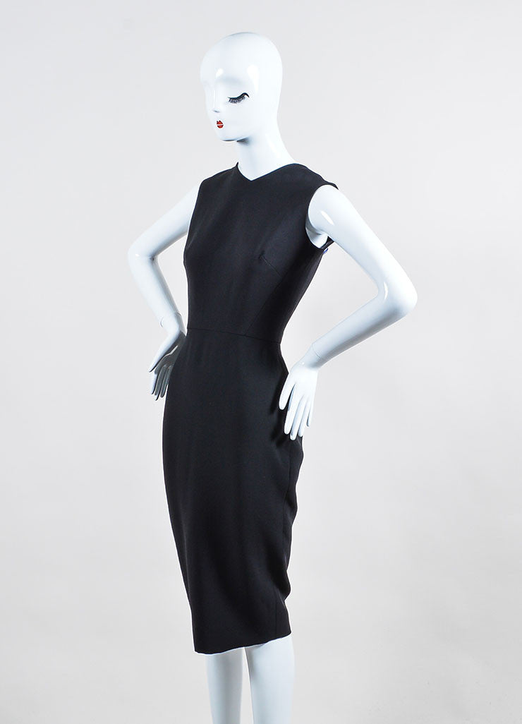 Black Victoria Beckham Silk and Wool Back Bow Sleeveless Sheath Dress Sideview