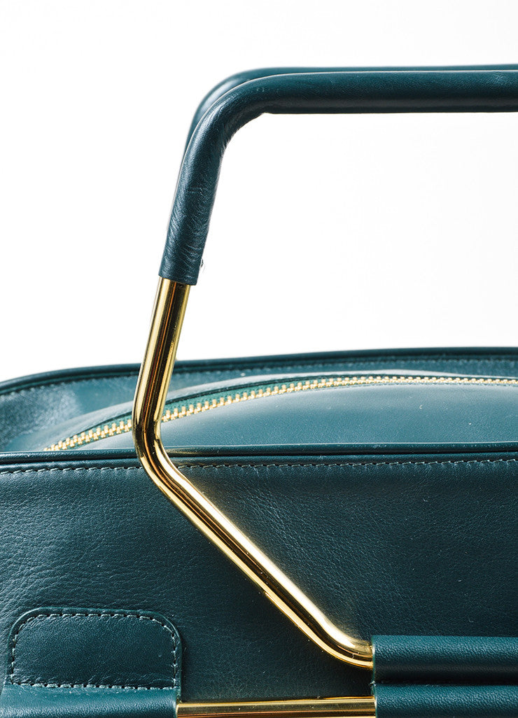 "Hunter Green Viktor & Rolf Leather Top Handle ""Bombette"" Satchel Bag Detail 2"