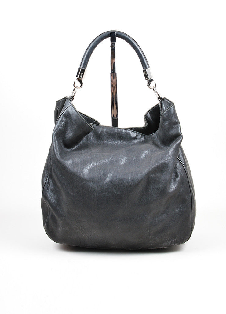 "Black Leather Yves Saint Laurent ""Roady"" Hobo Bag Frontview"