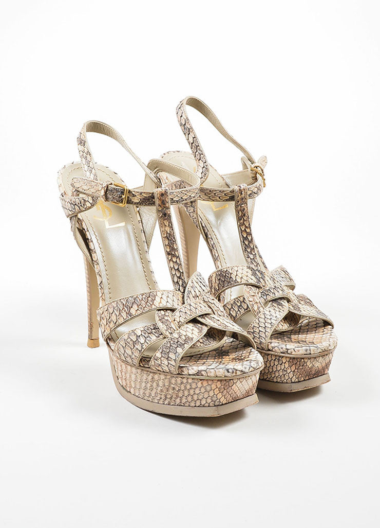 "Tan and Taupe Yves Saint Laurent Python Leather ""Tribute"" Sandal Heels Frontview"