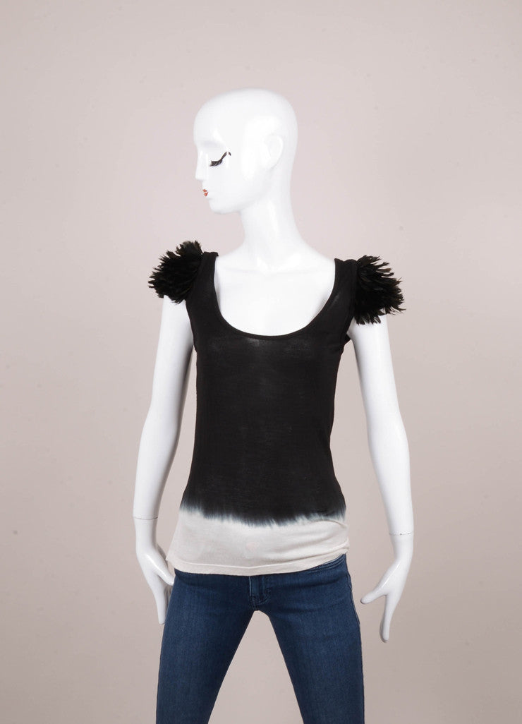 Black and Cream Ombre Feather Trim Cap Sleeve Cotton Top