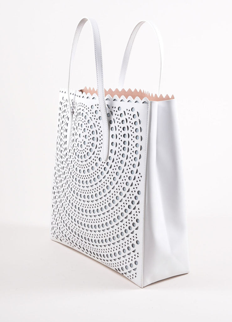 "Alaia White Laser Cut Perforated Leather ""New Vienne"" Shopper Tote Bag Sideview"