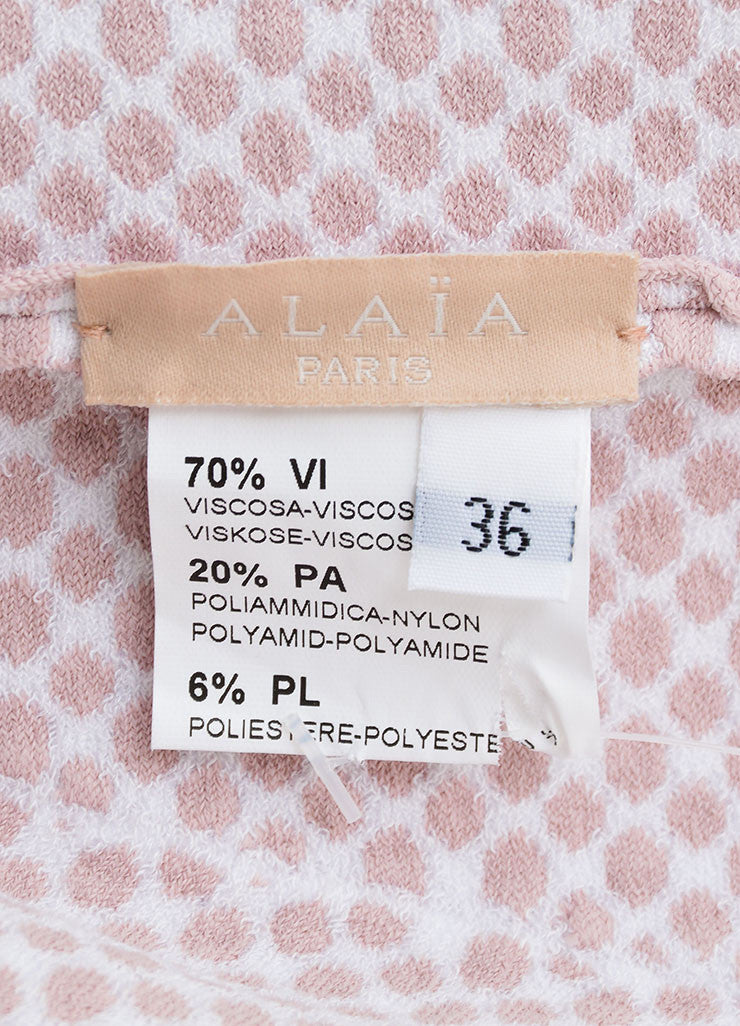 Alaia Light Pink and White Stretch Knit Scoop Neck Spotted Flare Dress Brand