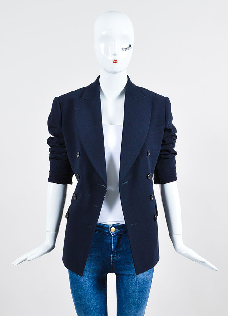 Navy Alexander McQueen Stretch Wool Double Breasted Blazer Frontview