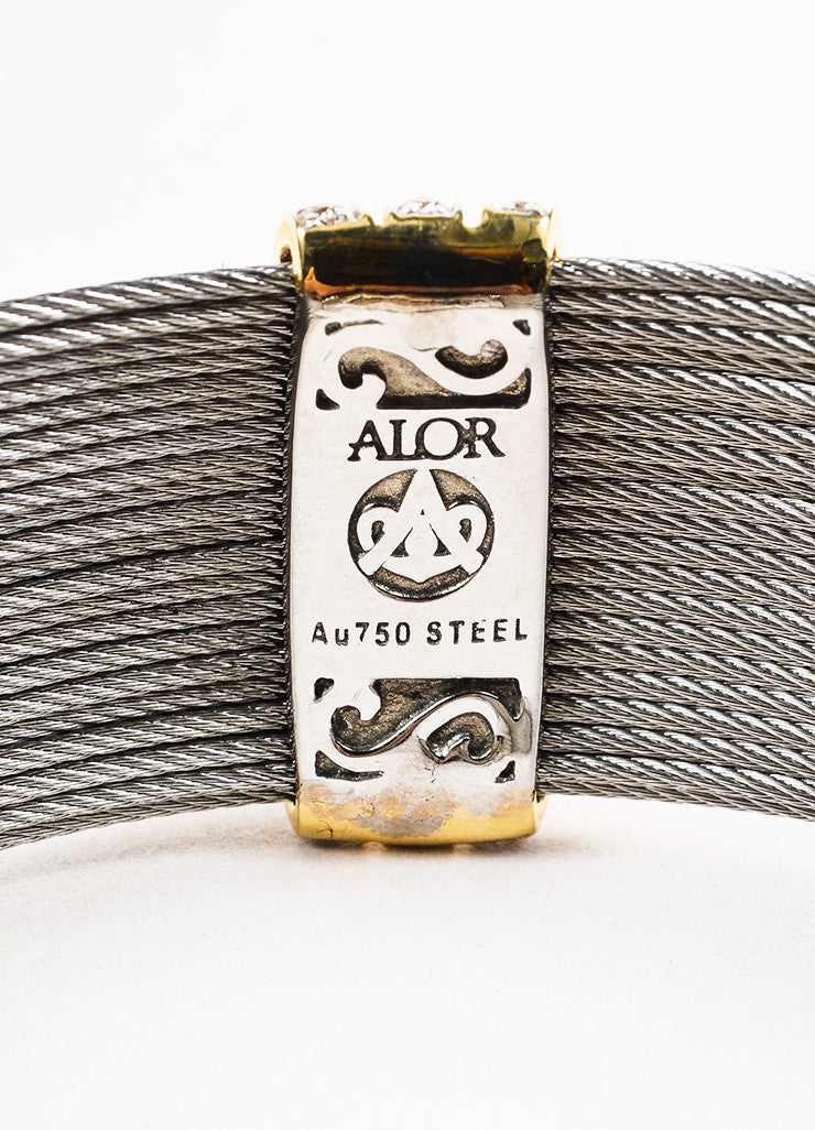 Alor Grey Stainless Steel 18K Yellow Gold Diamond Cable Bracelet Brand