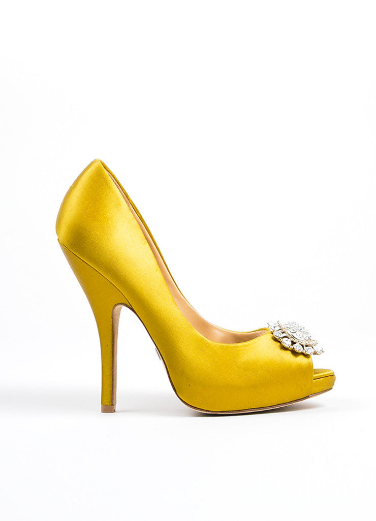 Badgley Mischka Chartreuse Satin Rhinestone Embellished Peep Toe Pumps Sideview