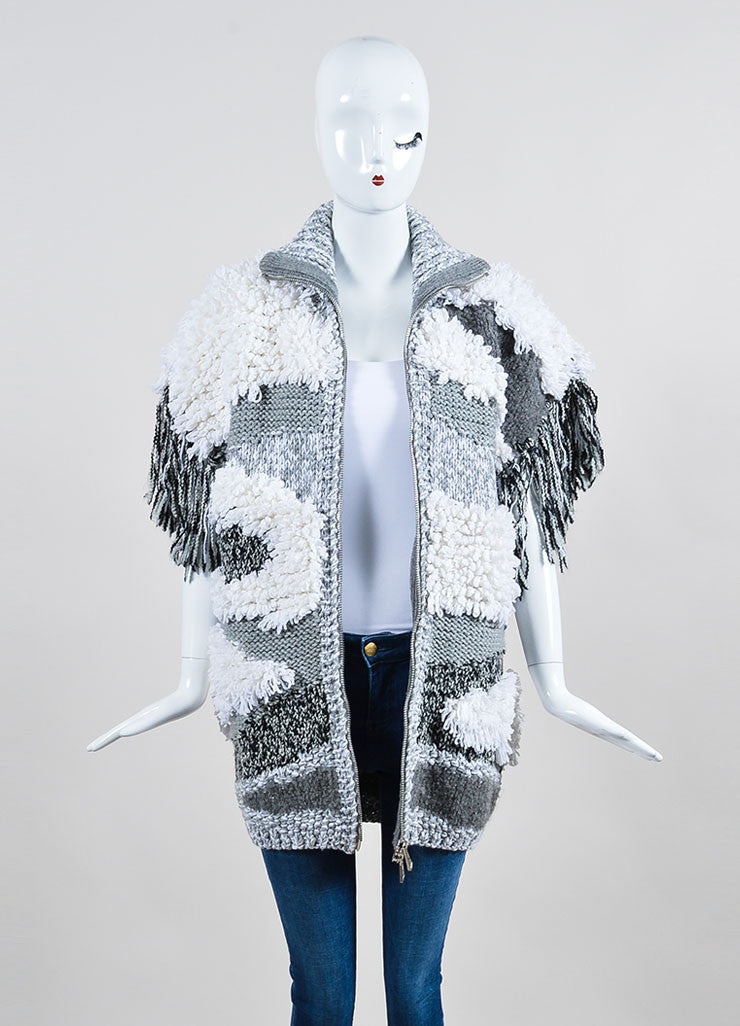 "White, Grey, and Black Belstaff Chunky Knit Fringe ""Zandra"" Short Sleeve Jacket  Frontview"