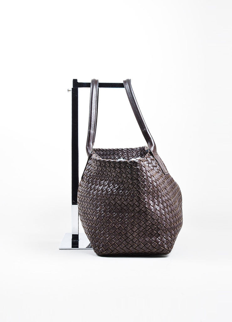 "Brown Bottega Veneta Woven Leather ""Medium Cabat"" Tote Side"