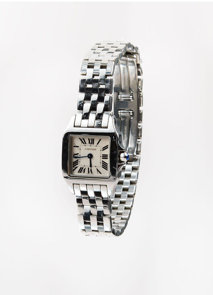 "Stainless Steel Cartier ""Santos Demoiselle"" Quartz Bracelet Watch Sideview"
