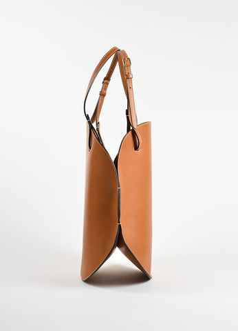 Celine Cognac Brown Leather Buckle Strap Oval Hobo Bag Sideview