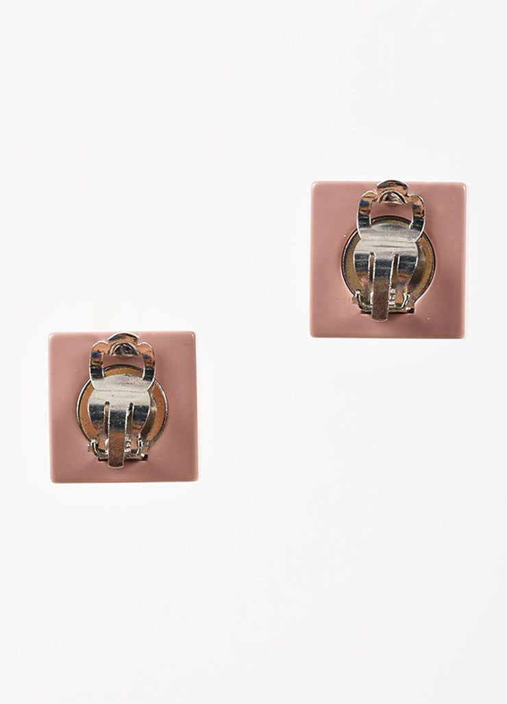 Chanel Pink Resin Rhinestone Crystal Heart 'CC' Logo Square Clip On Earrings Backview