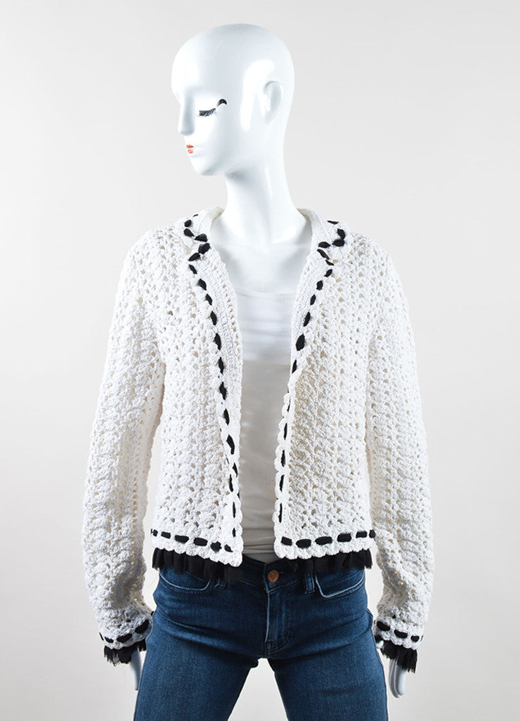 Chanel White Black Crochet Knit Ruffle Trim Cardigan Frontview