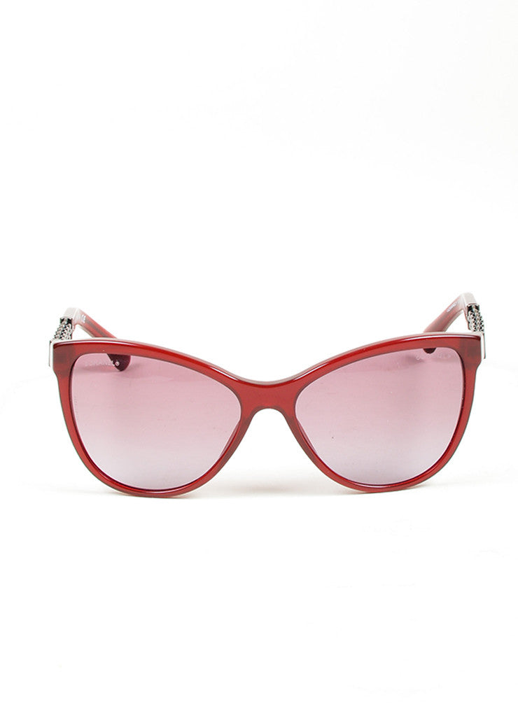 "Red Chanel Acetate ""5326"" Chain Butterfly Sunglasses Front"