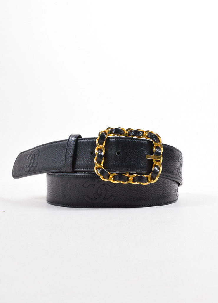 "Chanel Black and Gold Toned Caviar Leather ""CC"" Logo Chain Buckle Belt Frontview"