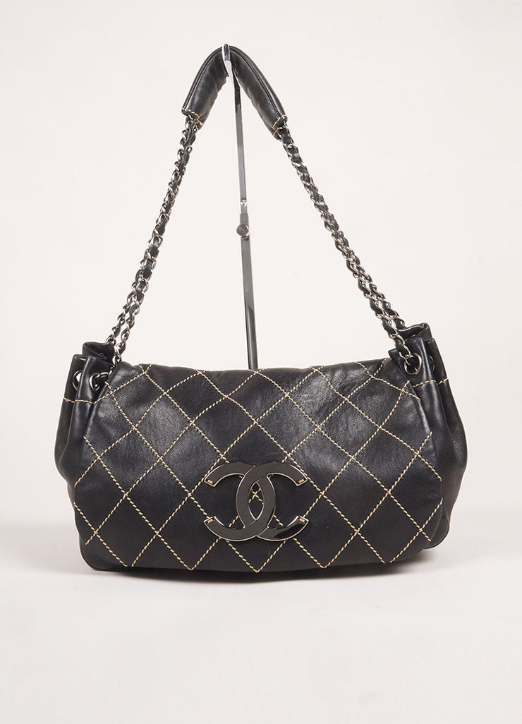 "Chanel Black Lambskin Leather Contrast Quilted Chain Strap ""CC"" Shoulder Bag Frontview"
