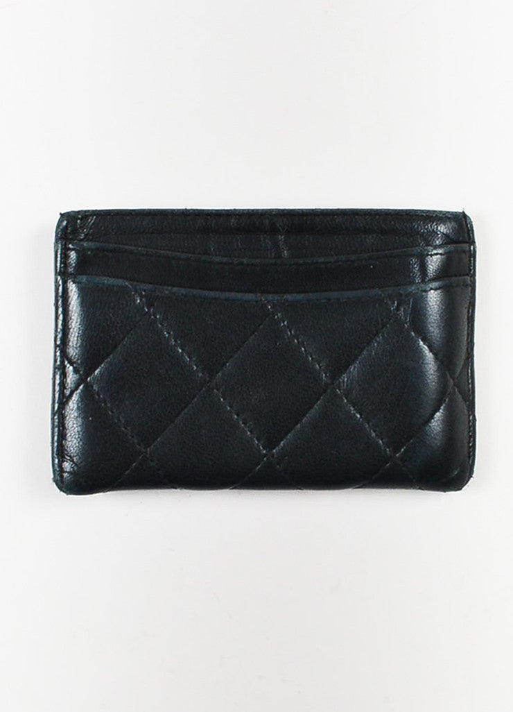 Chanel Black Lambskin Quilted Leather 'CC' Card Holder Backview