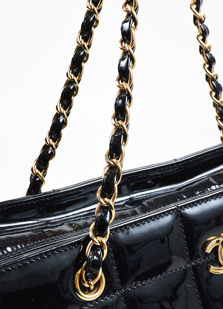 "Chanel Black Patent Leather ""Chocolate Bar"" Quilted Tote Bag Detail 3"