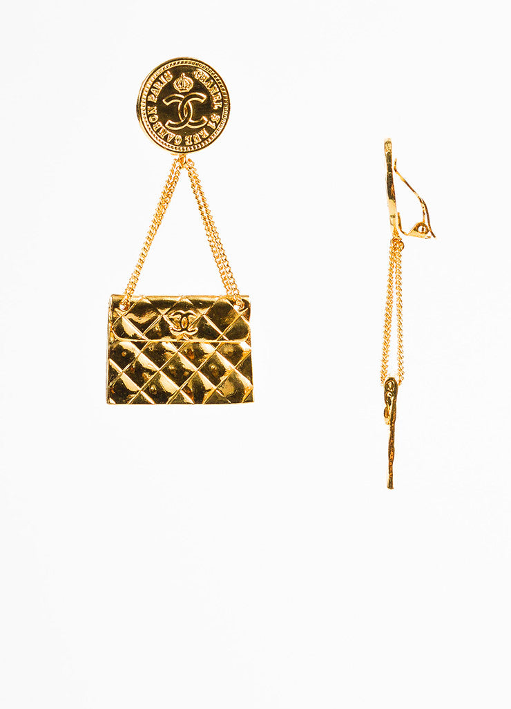 Chanel Gold Toned Quilted Flap Bag 'CC' Coin Dangle Drop Clip On Earrings Sideview